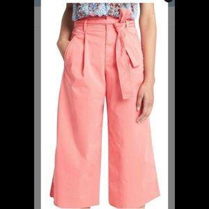 GAP High Rise Wide Leg Raw Hem Crop Pants Size 10